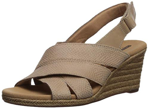 CLARKS Women's Lafley Krissy Espadrille Wedge Sandal Sand Suede/Leather Combi 110 M - Strappy Slingback Wedge