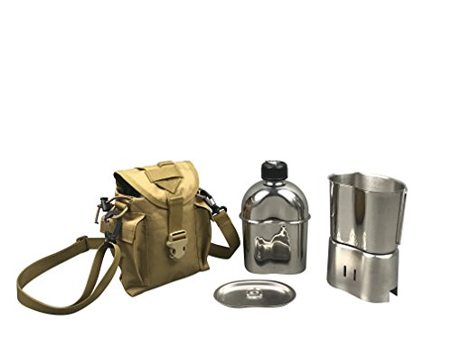 Jolmo Lander Military Canteen Cookware Set Camping Canteen Mess Kit Stainless Steel Canteen with Cup,Lid,Stove,Pouch (Sandybrown Set)