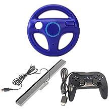 MagiDeal Steering Wheel + Sensor Bar + Controller for Nintendo Wii Mario Kart