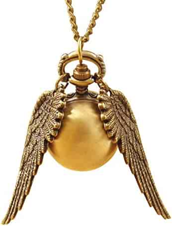 Vintage Bronze Legendary Necklace Golden Snitch Charm with Wings Pocket Watch Best Chosen Gift