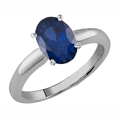 14k 6x4mm Oval Sapphire Ring (14K White Gold 6X4 MM Oval Cut Blue sapphire Ladies Solitaire Bridal Engagement Ring (Size 7))
