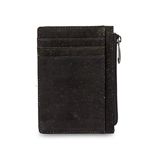 Eco friendly Vegan Black Cork Wallet with Zipper Credit Card Holder Coin Pocket Window RFID