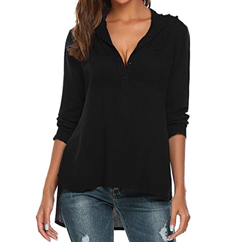 - Womens Fashion V-Neck Long Sleeve Blouse Pure Color Casual Loose Shirts Tops(Black,XXL)
