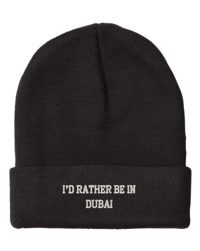 Fastasticdeal I'd Rather Be in Dubai United Arab Emirates City Embroidered Beanie Cap