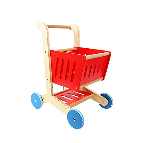 Tooky Toy, 15.75 x 12.20 x 20.09 inches, Shopping Cart, - Wood Shopping