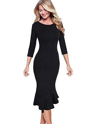 VfEmage Womens Elegant Vintage Cocktail Party Mermaid Midi Mid-Calf Dress 9065 Blk 14