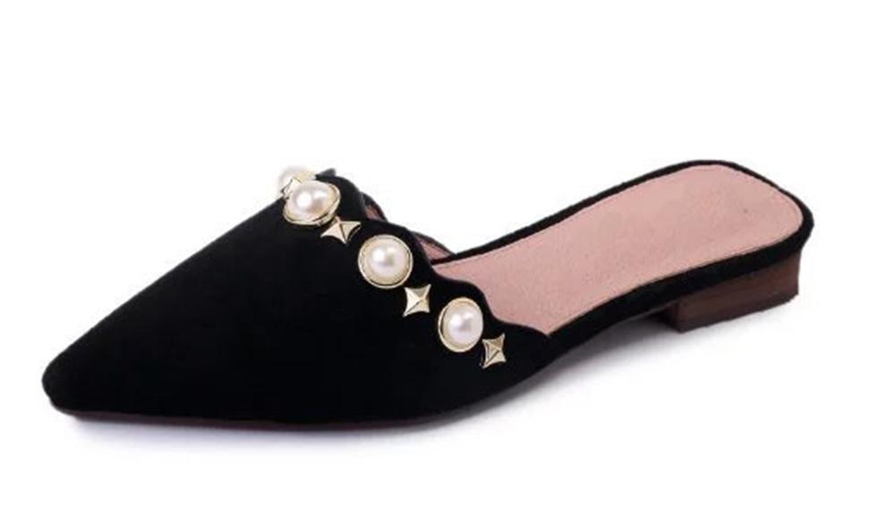 Baotou Sommerfrauen Hälfte schleppte spitze Seite mit niedrigeren Frauen Sandalen und Pantoffeln mit Perle Fuß Schuhen Sets black