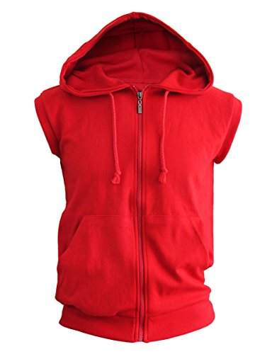 BCPOLO Men's Casual zip-hoodie vest Cotton Sleeveless Hoodie Vest-red M Sleeveless Zip Hoody