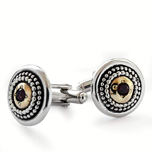 Dotted mix metals Cuff links with Garnet