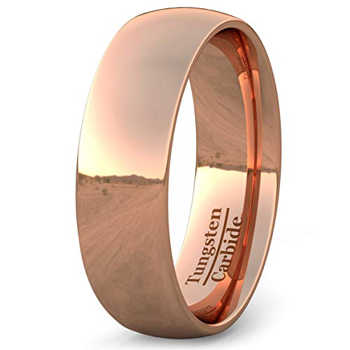 Duke Collections 8mm Basic Mens Wedding Band Rose Gold Polished Tungsten Ring Dome Comfort Fit (13)