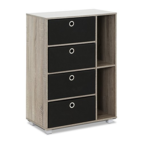 Furinno 11159GYW/BK Multipurpose Storage Cabinet, French Oak Grey/Black