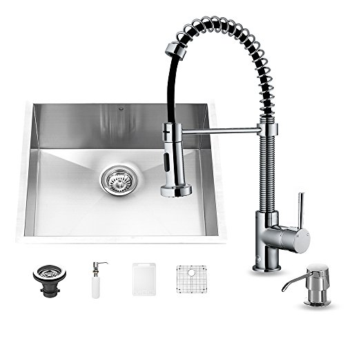 (VIGO 23 inch Undermount Single Bowl 16 Gauge Stainless Steel Kitchen Sink with Edison Chrome Faucet, Grid, Strainer and Soap Dispenser)