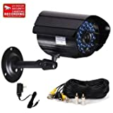VideoSecu Bullet Surveillance Security Camera 520TVL IR Cut Filter Outdoor Day Night Vision Weatherproof Home CCTV Surveillance with Power Supply and Extension Cable IR807B MGT