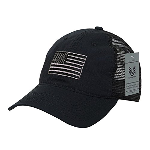 BHFC Ripstop USA US American Flag Embroidered Washed Cotton Mesh Trucker Relaxed Cap Hat (Embroidered Trucker Mesh Cap)
