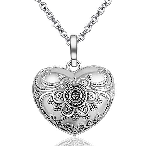 - EUDORA Harmony Ball Necklace Vintage Heart Chime Bola Pendant | 30