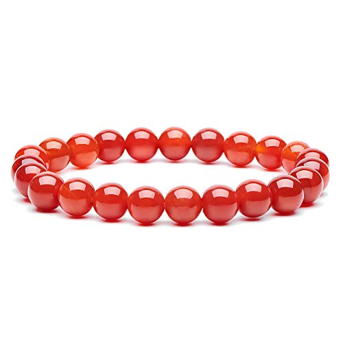 (Natural Gemstone Semi Precious Round Beads Bracelet 8mm Handmade Stretch Bracelet Unisex Jewelry (Orange Red Agate))