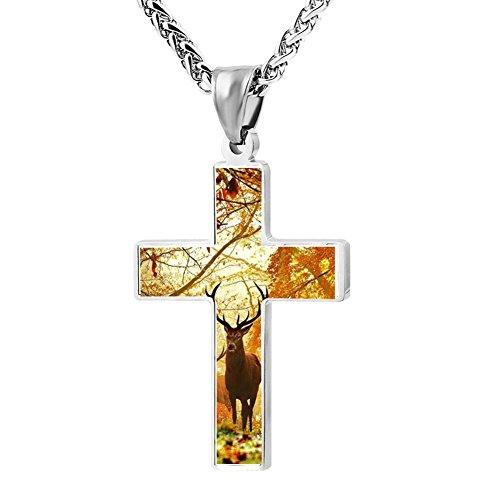 Gjghsj2 Cross Necklace Pendant Religious Jewelry Cartoon Deer For Men Wome ()