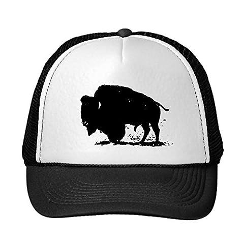 Black &Amp; White Buffalo Silhouette Trucker Hat (Chief Head Snapback)