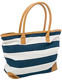 "Beach Bag Canvas Tote Bags Striped Summer Nautical Tote Shopper for Ladies size 18"" x 12"" x 5"" Airee Fairee"