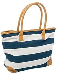 Beach Bag Womens Canvas Summer Tote Bags Striped Nautical Shopper for Ladies (Blue)