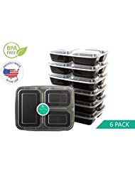 Meal Prep Containers | 3 Compartment | USA Made | Bento Box | 6 Pack Food Storage Lunchbox