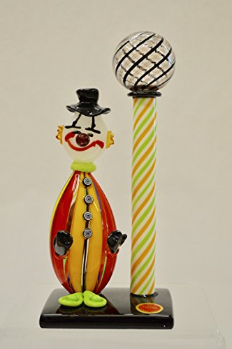 Murano Glass Pazzia Clown with Lamp Post (Yellow)