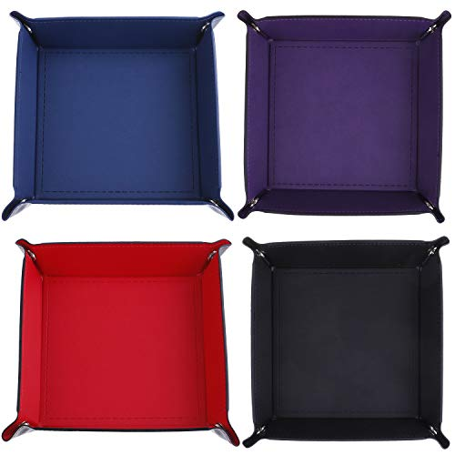 (LOCOLO 4 Pcs Dice Tray Dice Holder PU Leather Folding Rectangle Tray for RPG, DND and Other Table Games, 4 Colors)