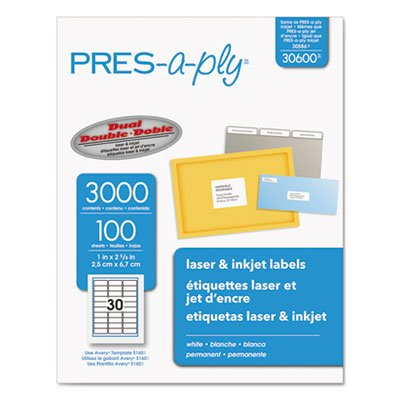 Laser Address Labels, 1 x 2 5/8, White, 3000/Box, Sold as 2 Box, 3000 Each per Box (Address Pres A-ply Label)