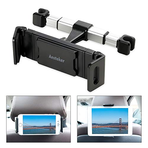 (Tablet Holder for Car Headrest, Ansteker Car Headrest Tablet Mount for iPad Pro/Air/Mini,Kindle Fire HD,Nintendo Switch,iPhone&Other Smartphones Stand Cradle for 4.7''-13''with Muti-Angle Adjustable)