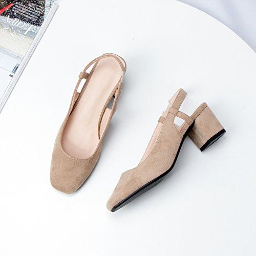GAOLIM La Primavera Y El Verano Baotou Sandalias Mujeres Gruesas Con Tacones Altos Zapatos De Mujer A La Cabeza Hacia Atrás Vacío Solo Zapatos Zapatos De Mujer Salvaje Beige
