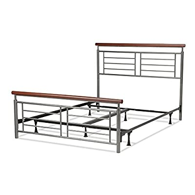 """Leggett & Platt Fontane Complete Metal Bed and Steel Support Frame with Geometric Grills and Rounded Cherry Wood Color Top Rails, Silver Finish, Full - Full sized bed constructed of Carbon Steel with Silver finish grills and Cherry Wood colored Top Rails 48"""" Headboard and 25"""" footboard features simple lines, slim silhouette, and neutral finishes to make a remarkable focal point in your bedroom Steel bed frame provides full support to your mattress and box spring - bedroom-furniture, bed-frames, bedroom - 41Kak7BfW9L. SS400  -"""