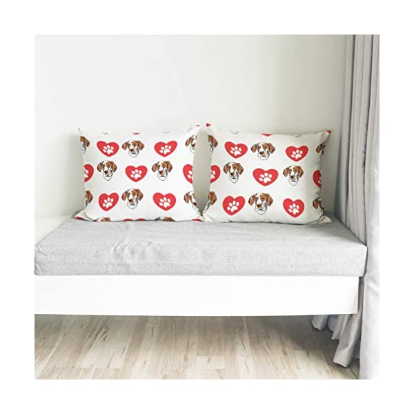 Style In Print Personalized Pillow Case Ariege Pointer Dog Heart Paws Polyester Pillow Cover 20INx28IN Design Only Set of 2 4