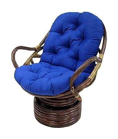 Soft, Tufted Papasan Swivel Rocker Cushion (Black)