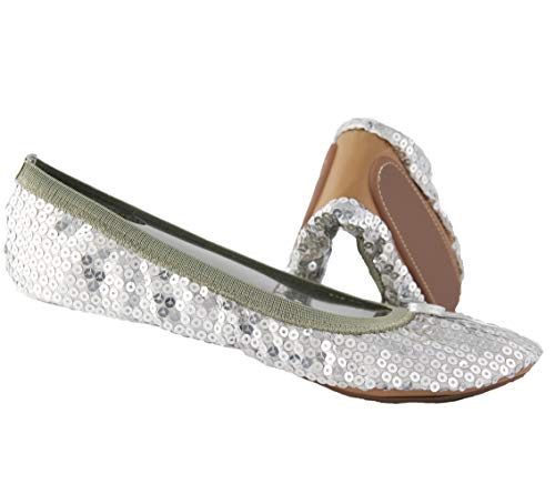 Sequin Foldable Portable Flats That fold and fit in a Bag (9, Silver) ()