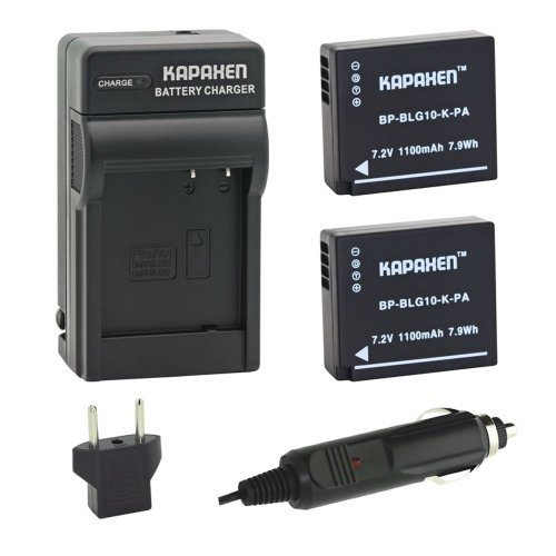 Kapaxen Two High Capacity DMW-BLG10 Battery Packs & Charger Kit for Panasonic Lumix GF6, GX7, GX85, LX100, LX10, ZS100 and More Cameras
