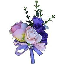 Homyl Wedding Corsage Artificial Silk Roses Carnation Wedding Flowers Boutonniere Brooch Pin Groom Weddings Bouquet Floral Decor - Light Purple Carnation, as described