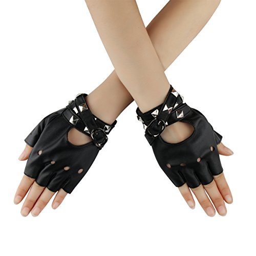Women Punk Rock Half Finger Gothic Gloves Cosplay Costume Rivets Studded Biker Driving Leather Fingerless Gloves Black, OSFM]()