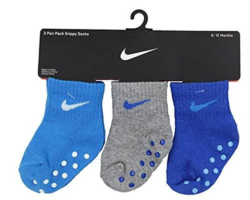 Blue Hero Nike Boys 3 Pair Pack Grippy Crew Socks , 6-12 Months B24