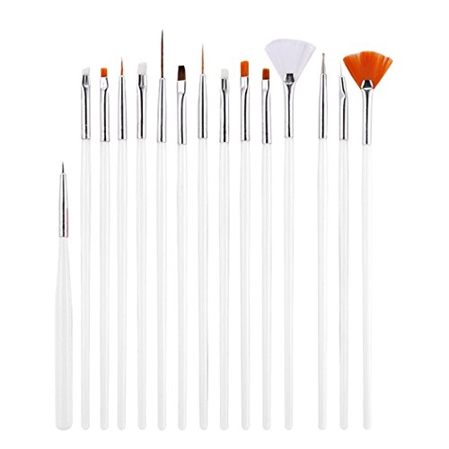 15 Piece Nail Brushes 3D Natural False Painting Draw Pen Professional Soft Nails Art Brush Tool Kits Exquisite Popular Pedicures Toenail Pads Lacquer Cleaner French Stencils Glitter Girls - Glitter Princess Jewel Pen