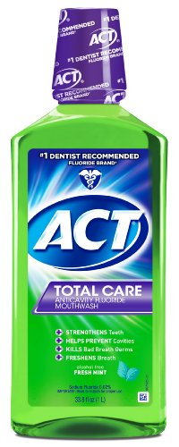 ACT Total Care Anticavity Fluoride Mouthwash Fresh Mint, 33.8-Ounce Bottle (Pack of 3) by ACT