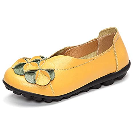 Agennix Store Lip Balm Tube US Size 5-13 Women Flower Flat Shoes Casual Outdoor Leather Slip On Round Toe Loafers Yellow Multi 12 Medium
