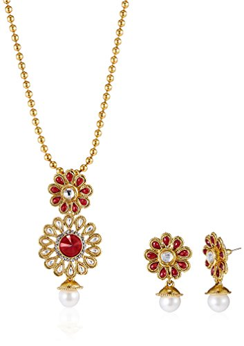 Aheli Beaded Pendant Earring Set for Women (Red) (A1PS18)