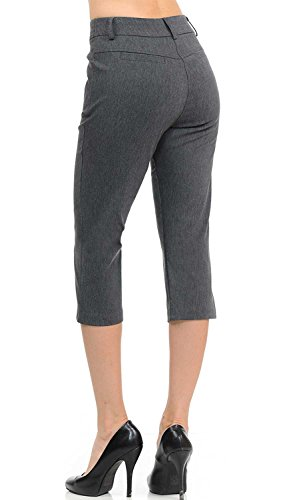VIV Collection New Women's Straight Fit Trouser Capri Pants (X-Large, Heather Charcoal) by VIV Collection (Image #2)