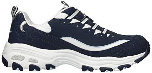 Navy Sneaker Bianco zip Skechers Lungo D'femminili Lites wqxZTa7cfv