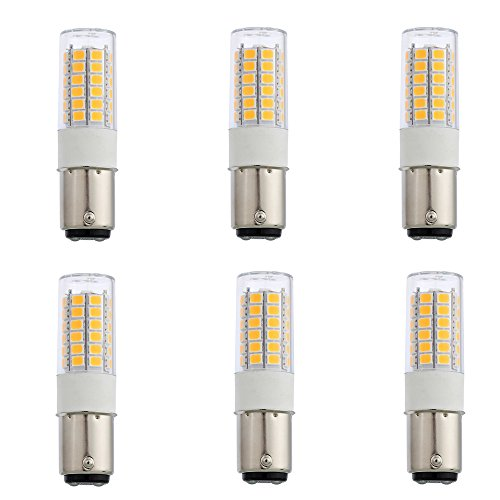 Arrownine Ba15d Double Contact Bayonet 1142 1076 1176 1004,Car LED Bulb Motorcycle Boats Marine Cabin LED Light,DC12-30V 6-Pack (Warm White)