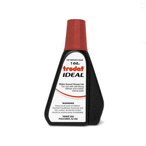 Trodat 45174  Ideal Premium Replacement Ink for Use with Most Self Inking and Rubber Stamp Pads, 1oz., Red