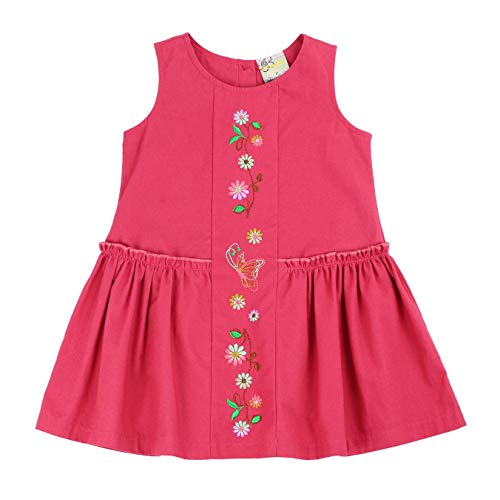 sissymini - Toddler Corduroy Curtsy Light Cotton Dress in Raspberry Red 2T