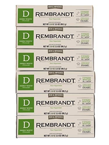 (Rembrandt AntiCavity Fluoride Toothpaste with Peroxide Peppermint Flavored 3.5oz Pack of 6 (6 Pack))
