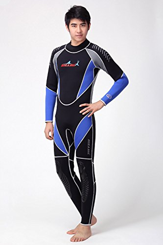 A Point 3mm Full Suit Flatlock Stitching Jumpsuit with super-stretch armpit Men/Women Wetsuits (men's blue, L) Super Stretch Full Wetsuit