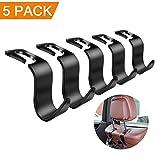 #7: tarbs 5-Pack Universal Car Vehicle Back Seat Headrest Hook Hanger Storage,Strong and Deep Enough for Purse Groceries Bag Handbag Coats Umbrella Bottle Holder and More(Black)